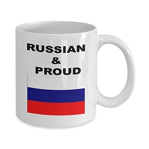 ロシアコーヒーマグロシアand Proudお土産旅行ギフトwith国フラグ 11oz GB-1861968-20-白い