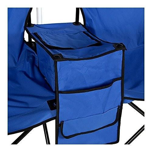 Picnic ダブル折りたたみ椅子 傘付き テーブルクーラー 折りたたみ式 ビーチ キャンプチェア