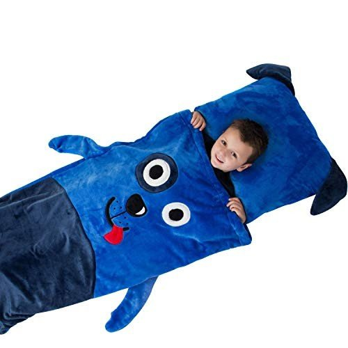 Kids Plush Sleeping Bag with Pillow ブルー