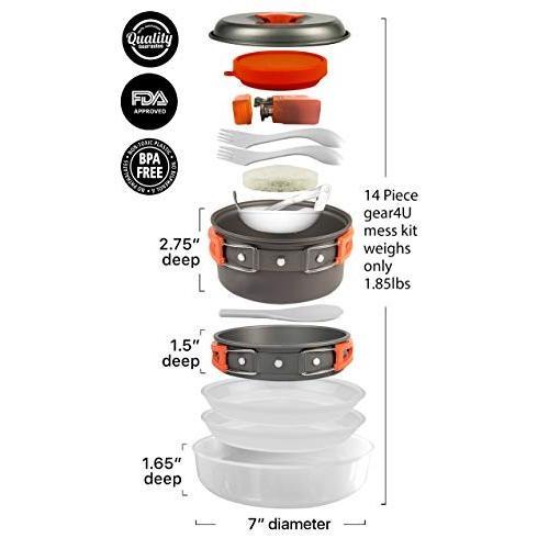 gear4U: Best BPA-Free Camping Cookware 10,13 & 14 Piece Sets - Mess