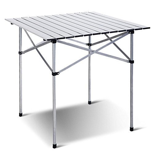 ロールアップ式ポータブル折り畳み式キャンプ 正方形アルミピクニックテーブル バッグ付き 28インチ x 28インチ