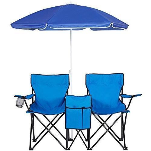 折りたたみ式 ピクニック ダブル クワッド 椅子 ビーチ キャンプ 椅子 傘付きテーブル