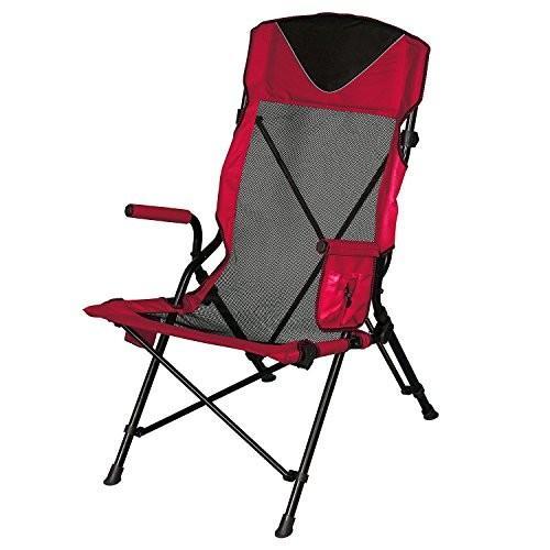 ハイスリング ビーチ キャンプ ポータブル アウトドア エルゴ 折りたたみ椅子 メッシュバック付き (レッド)