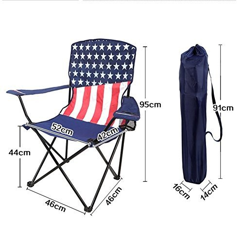 HM&DX アウトドア 折り畳み式のキャンプ椅子 ビーチチェア 携帯便利 安定 鉄 と カップ ホルダーをメッシュ キャリー バッグ の