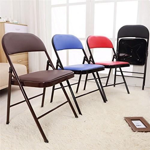 椅子 折りたたみ椅子PUレザーパッド入りの強い金属フレームホームオフィスとコンピュータ背もたれの椅子 (色 : ブラック)
