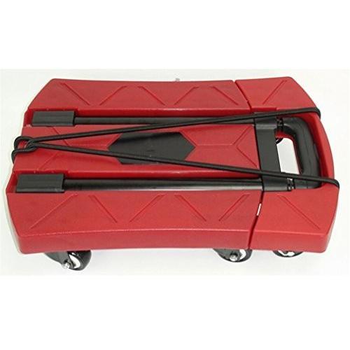 トロリートラック折り畳み式、赤いポータブル6輪のテレスコピック多機能カー折りたたみトレーラートロリーフラットショッピングカート