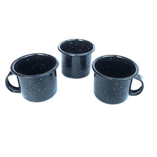 grahampobエナメルコーヒーカップマグエスプレッソセットの3、アソートカラー4オンスカップクラシックLook