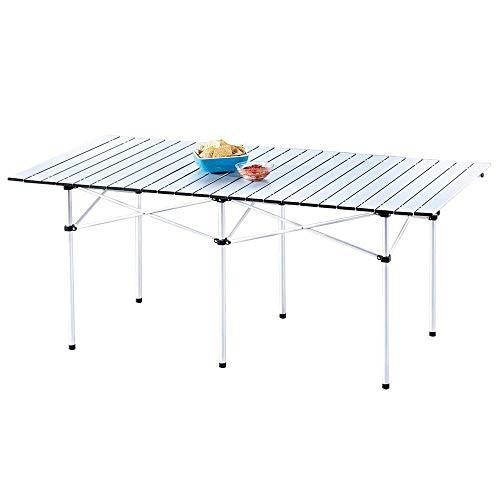 折りたたみ屋外屋内テーブルポータブルロールアップ軽量耐久性アルミキャンプピクニックテーブル
