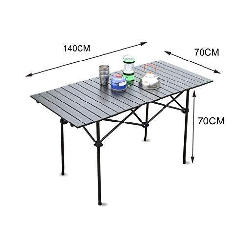 GAOYANG ポータブルアルミ折りたたみテーブル軽量屋外ロールアップキャッシングキャンプピクニックテーブルストレージバッグ、