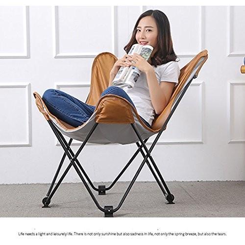 ムーンチェアレジャーキャンプ用椅子(カップホルダーなし)スチールフレーム折りたたみ式パドックポータブル