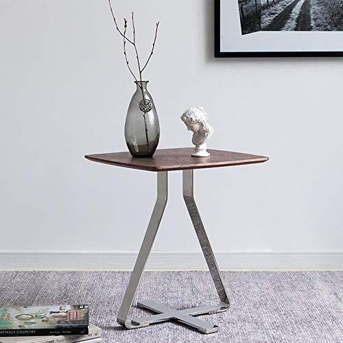 HUO,テーブル ウォールナットベゼルソファサイドテーブルシルバーステンレス鋼の小さなテーブル - 50 * 44 * 44センチメートル 多機能
