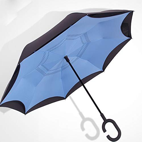 雨景長柄傘逆傘2階の傘の男女柱のアイデアC型自動車傘を保持する
