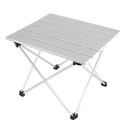 WHT ミニポータブル折りたたみ式アルミ合金キャンプテーブル キャリーバッグ付き (L39.5cmW35cmH32cm) S ホワイト