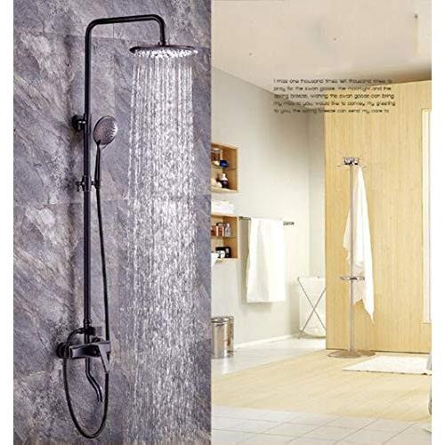 シャワーシステム、ヴィンテージバスルームブラックシャワーセットは、手のシャワーブラスレインシャワーの蛇口セットを搭載した壁掛け降雨シャワー