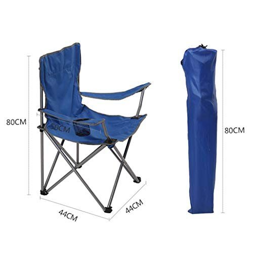 GWM 屋外の折りたたみ椅子ライトポータブル釣りチェアバックビーチチェアスケッチチェアアームチェア (色 : 青)