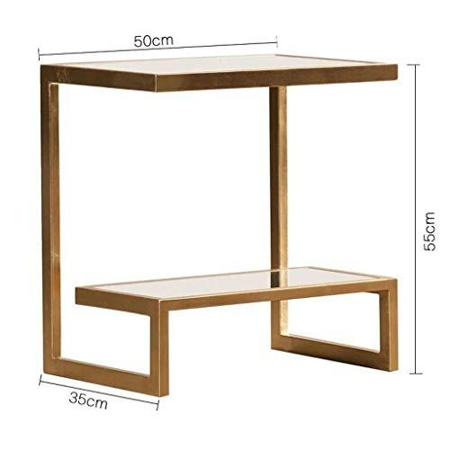 HY サイドテーブル長方形、ガラス/サテンゴールドフィニッシュ家具50cmサイドテーブル - 強化ガラス