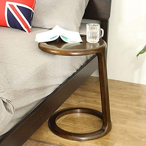 HY 小さなサイドテーブルラウンドウッドのリビングルームバルコニーミニコーヒーテーブル (色 : Walnut color)