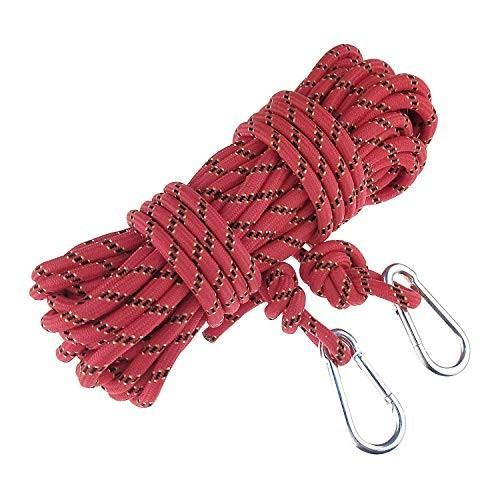 ROSY CLOUDS クライミングラペル 補助ロープ 15m(49フィート) 300kg 3KN 安全仕様 消防 安全ラペリングロープ レッド