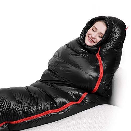 寝袋、ママ暖かい寝袋冬屋内屋外睡眠バッグポータブルキャンプダウン睡眠袋,Black,1.8kg