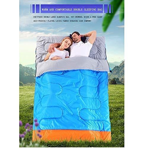 LIUSIYU二重寝袋、二重封筒の寝袋、柔らかく、幅広く、防水で、大人と子供のアウトドアキャンプ旅行に最適,青