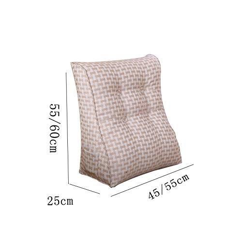 ベッド枕ベッドソフトバッグトライアングル背もたれ無地腰椎枕ダブル怠惰な枕取り外し可能と洗える (サイズ さいず : 45*55*25cm)