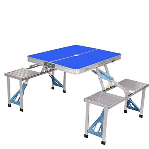 FRF 折りたたみ式テーブル- 多機能ポータブル屋外折りたたみテーブルと椅子、アルミ合金ワンピースピクニックテーブル (色 : 青, サイズ さいず
