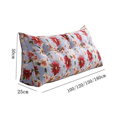 ベッド枕キャンバスダブルトライアングルバックソフトバッグソファ大枕腰椎枕取り外し可能および洗える (サイズ さいず : 120*50*25cm)
