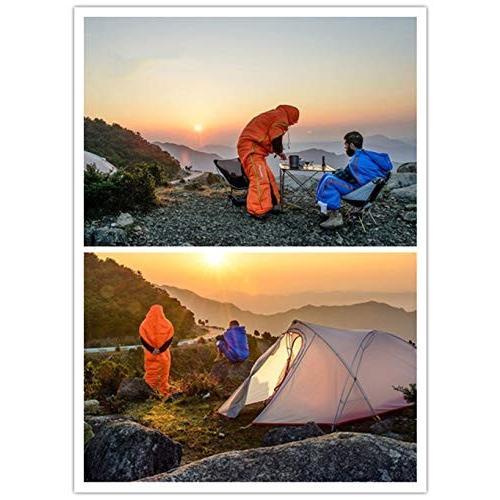 スリーピングバッグ、フルボディウェアラブル睡眠バッグ軽量暖かい4シーズン睡眠サック大人屋外屋内スリーピングパッド,オレンジ,198*75cm