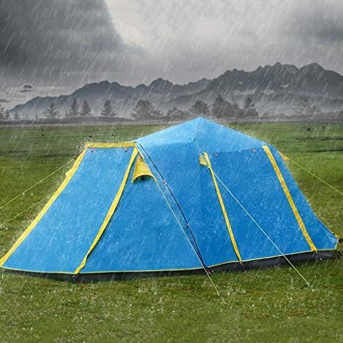 屋外全自動二重層日焼け止め防水ドームテント4-5人家族テント簡単にインストールしてパッケージ化 (色 : 青)