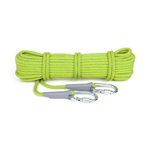 クライミングロープ、20Mロングアウトドア登山高強度救命静的ロープ径12mm、多目的ユーティリティロープ (色 : 蛍光緑色, サイズ さいず :