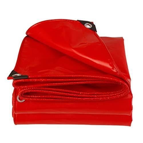 HJBH高品質スクリーン印刷材料サンシェード布肥厚日焼け止めレインターポリントラック断熱シェードキャノピー耐久性耐摩耗性野外活動小屋(赤)マルチサイズ