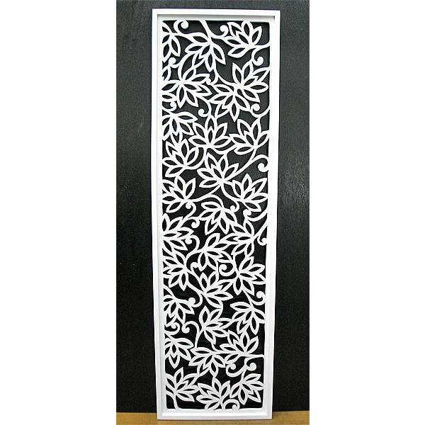 壁掛け木彫りのレリーフ G ロータス花模様 ホワイト120 [H.120.5cmx35cm] おしゃれな 壁掛け エスニック アート アート パネル レリーフ アジアン雑貨 インテリア