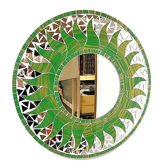 壁掛け バリ モザイクミラー 販売期間 限定のお得なタイムセール 鏡 M D.40cm 丸型 グリーン おしゃれな 太陽丸い鏡 贈与 タイ アジアンインテリア バリ雑貨 アジアン雑貨 ゴールド