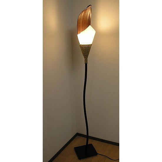 ココナッツリーフと 牛革シールドの スタンドランプ フラワー [H.約165cm] アジアンインテリア アジアンランプ 照明 エスニック