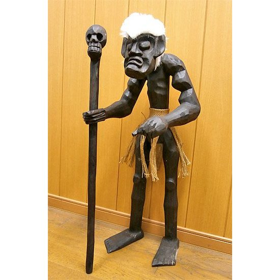 木彫りの原人 『髑髏の杖を持つ原人』 Mサイズ 木製フィギュア [H.約80cm] アジアン雑貨 バリ タイ エスニック 手作り