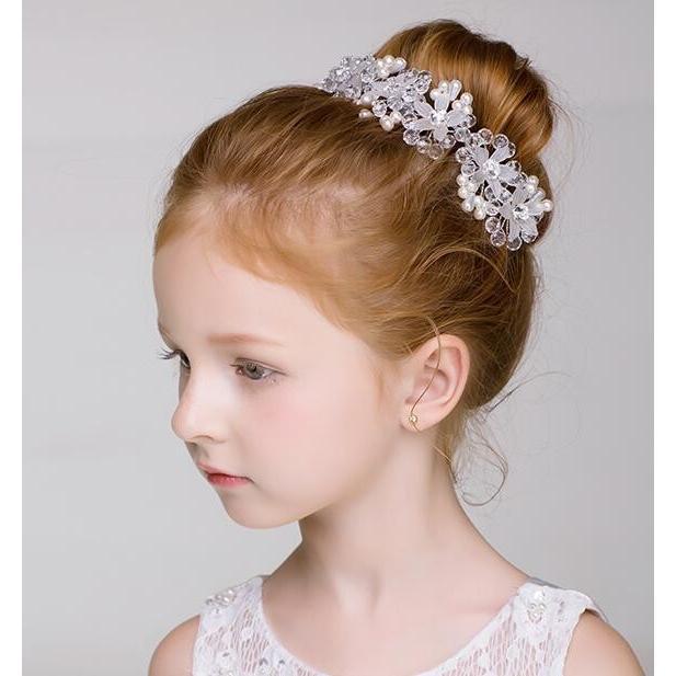 3c9202e5eabad 子供ヘアアクセサリー フラワーティアラ キッズ髪飾り 花冠 子供ドレス ジュニア フラワーガールカチューシャ 結婚式 フォーマル ピアノ発表会ドレス