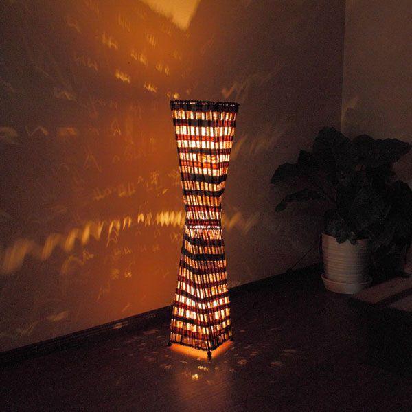 バリ雑貨 照明 フロアスタンド 3灯バナナ葉と木の皮ランプ100