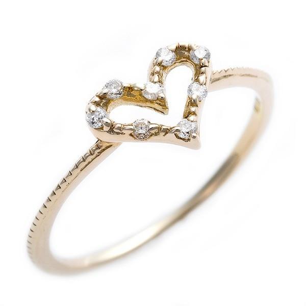 ブランド品専門の ダイヤモンド ピンキーリング K10 イエローゴールド ダイヤモンドリング 0.05ct 4号 アンティーク調 ハートモチーフ プリンセス 指輪, ワーキングユニフォームストア 22087106