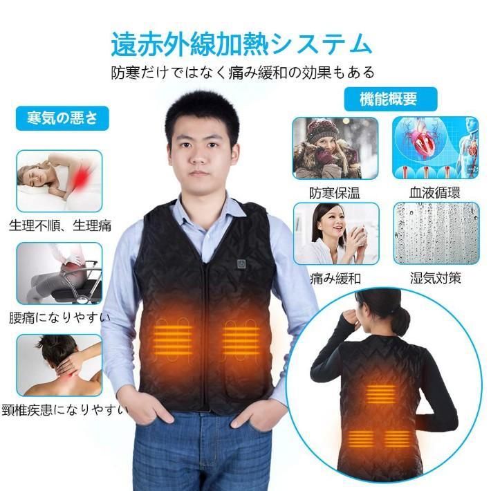 クリスマス 電熱ベスト 電熱ジャケット USB充電 ヒートベスト 男女兼用 ほっとチョッキ 防寒ベスト 水洗いでき 2021改良デザイン NIN-BJ-fm-2XL anshinsokubai 04
