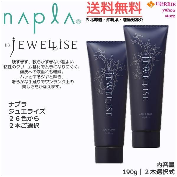 送料無料 2本セット ナプラ HB ジュエライズ 190g 高価値 25%OFF カラー選択式 1剤式 プロ用 napla JEWELLISE ヘアカラー サロン ヘアマニキュア 酸性カラー