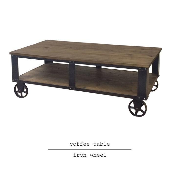 アンティーク風コーヒーテーブル 鉄車輪と古材がお洒落 ご自宅だけでなくオシャレな店舗什器としても活躍 新生活 tab