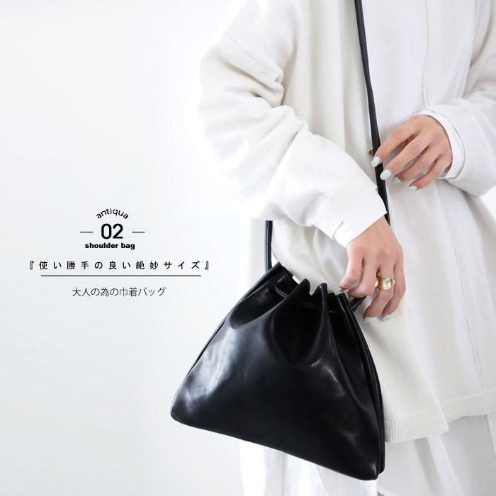 バッグ 鞄 フェイクレザー レディース ショルダーバッグ レザー巾着バッグ・再販。メール便不可|antiqua