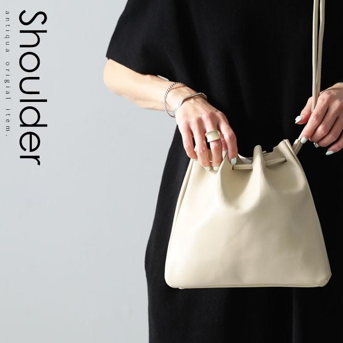 バッグ 鞄 フェイクレザー レディース ショルダーバッグ レザー巾着バッグ・再販。メール便不可|antiqua|13
