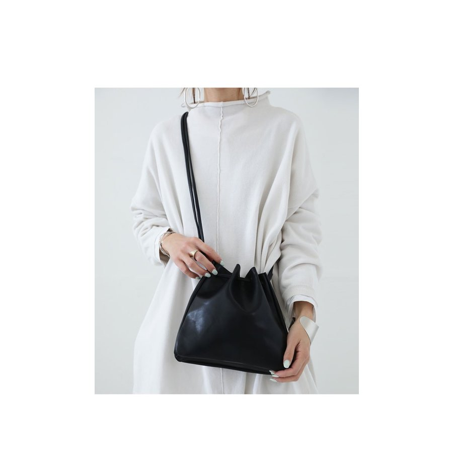 バッグ 鞄 フェイクレザー レディース ショルダーバッグ レザー巾着バッグ・再販。メール便不可|antiqua|03