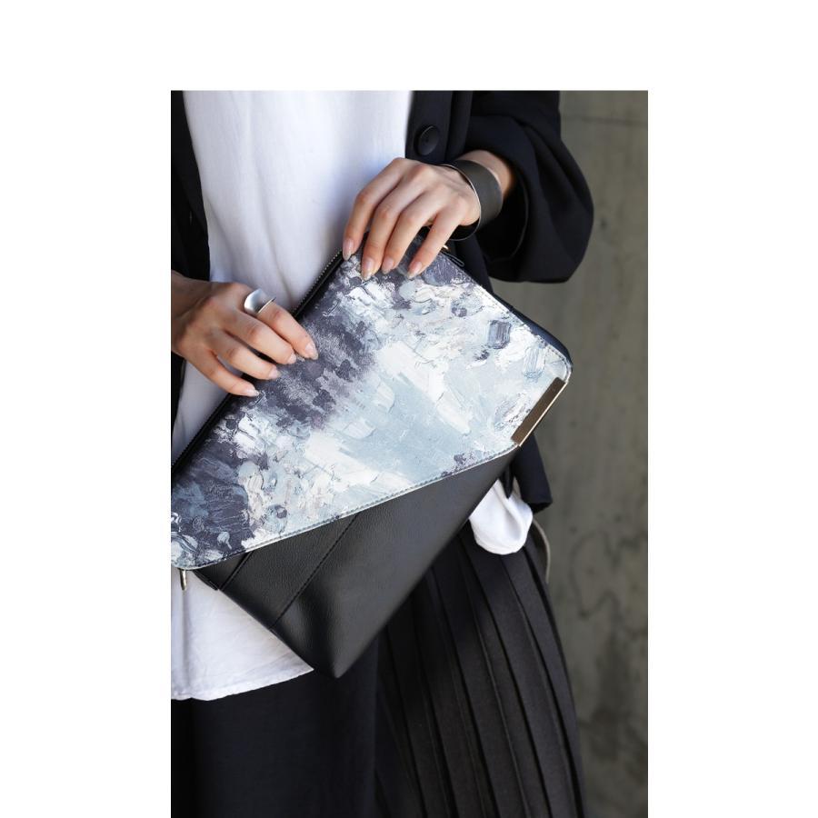 大人気商品!再入荷予定あり(再入荷ボタン登録でメールでお知らせ)アート柄 2WAYクラッチバッグ バッグ レディース 鞄 黒・再再販。メール便不可 antiqua 14