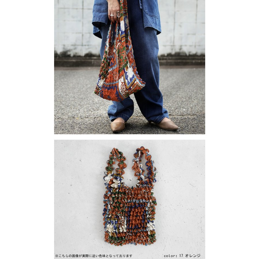 シワ加工 プリーツバッグ 鞄 手提げ エコバッグ 折りたたみ・8月14日10時〜発売。80ptメール便可|antiqua|06