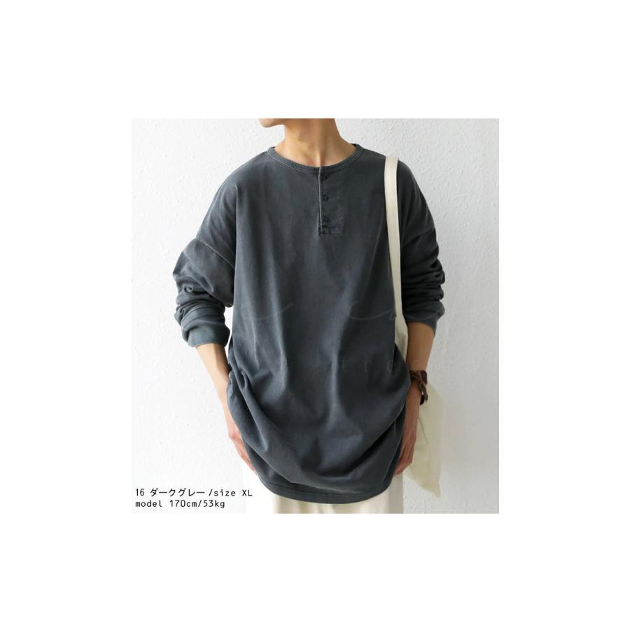 ヘンリーネックバスクT ロンT Tシャツ メンズ 長袖 綿・再再販。メール便不可 antiqua 03