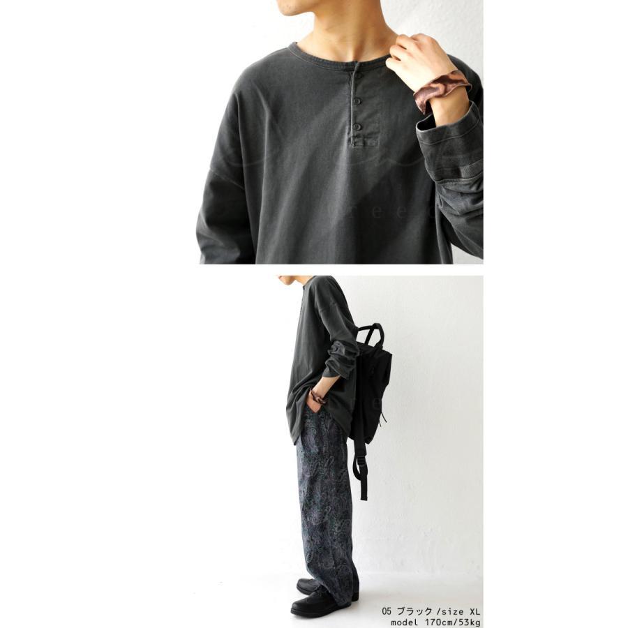 ヘンリーネックバスクT ロンT Tシャツ メンズ 長袖 綿・再再販。メール便不可 antiqua 06
