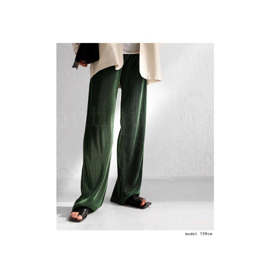 サテンプリーツパンツ セルフカット パンツ レディース 無地・9月9日10時〜再再販。メール便不可|antiqua|03