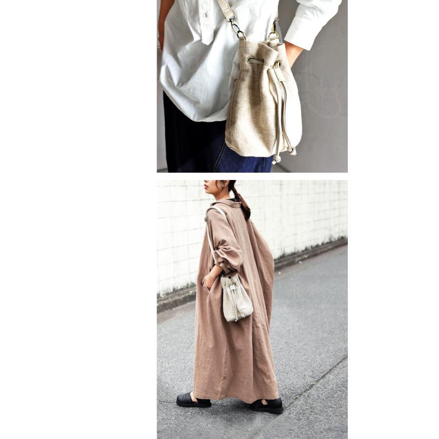 バッグ レディース 巾着 ショルダーバッグ ドロストバッグ リネン巾着バッグ・4月15日0時〜再販。メール便不可 母の日|antiqua|04